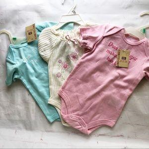 NWT bundle of 3 baby girl onesies